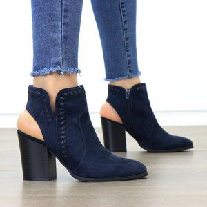 Pointy Toe Navy Suede Ankle Boots With Sling Back